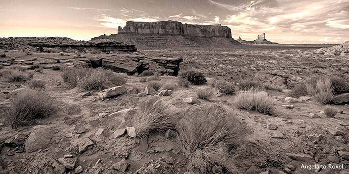 sentinel-mesa-monument-valley-abend-monochrom-panorama-tafelberg-wueste